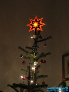 Plexiglas Led Weihnachtsstern auf Baum