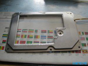 Festplattendeckel mit Plexiglasplatte verklebt