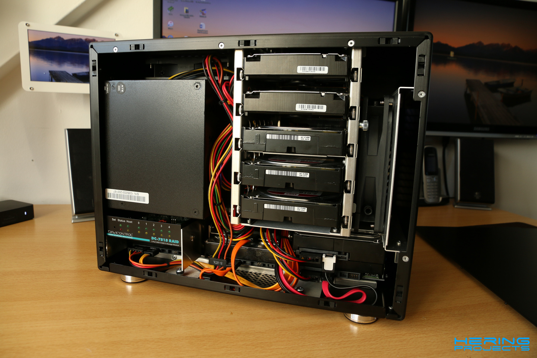 LianLi PC-Q25B Innenaufteilung mit Festplatten