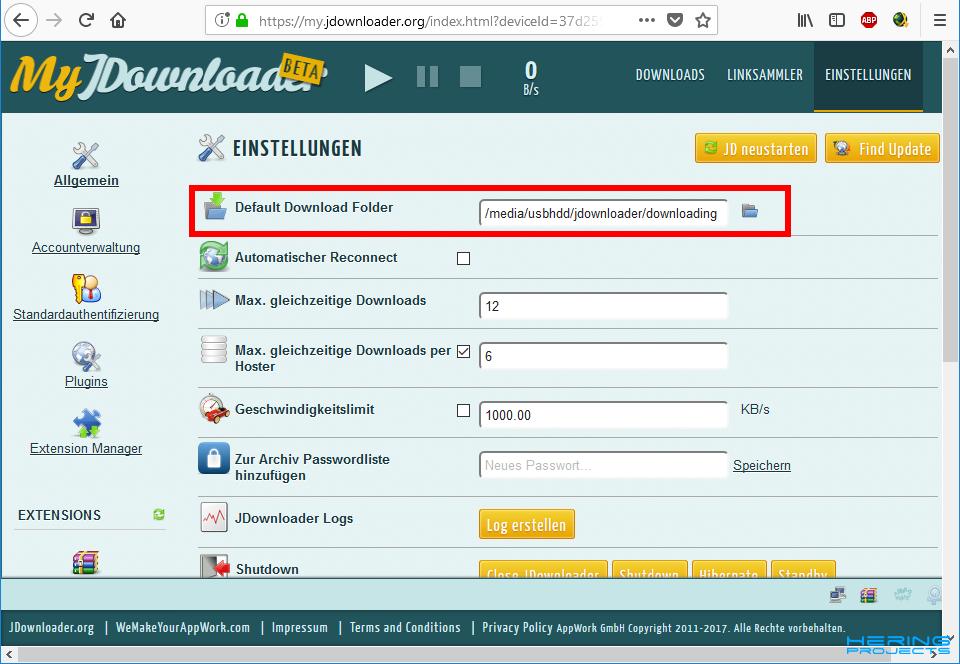 Raspberry Pi 3B+ Downloadserver mit jDownloader und Deluge Torrent