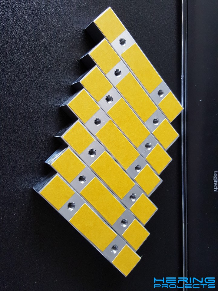 15x15mm Aluminiumvierkant mit doppelseitigem Klebeband