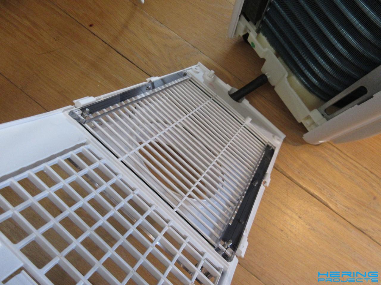 Gegenhalter für die Adapterbox an der Klimaanlage